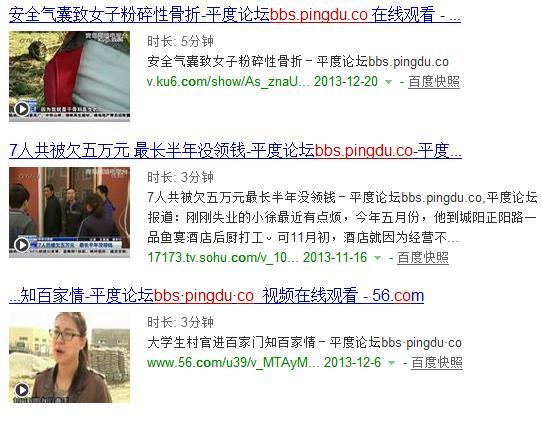 """搜索""""bbs.pingdu.co""""的结果中,视频出现了图文并茂"""